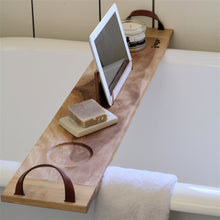 Load image into Gallery viewer, Solid Birch bath caddy with leather handles