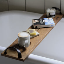 Load image into Gallery viewer, Solid White Oak bath caddy with leather handles