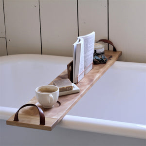 Solid Birch bath caddy with leather handles