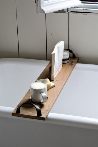 Solid White Oak bath caddy with leather handles
