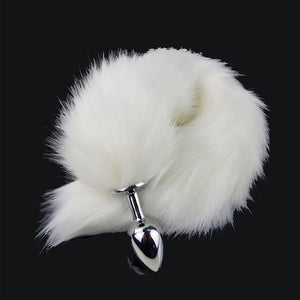 White Faux Fox Tail Anal Plug