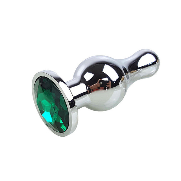 Metal Anal Plug with Green Crystal Jewelry