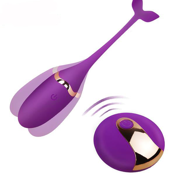 Purple Vibrating Kegel Exerciser with Remote