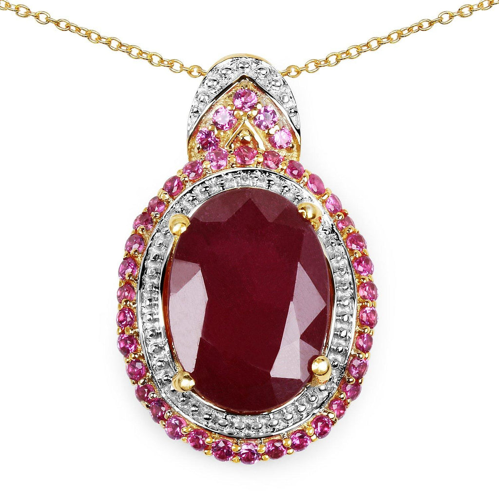 Oval Glass Filled Ruby and Ruby Micropavé Pendant in 14K Yellow Gold Plated Sterling Silver
