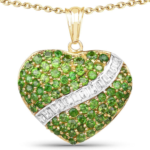 Image of Chrome Diopside and White Topaz Heart Pendant in 14K Yellow Gold Plated Sterling Silver