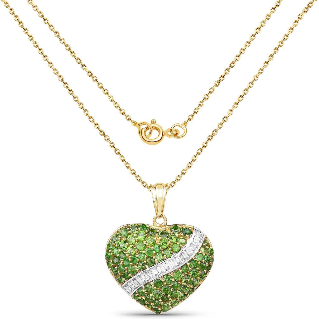 Chrome Diopside and White Topaz Heart Pendant in 14K Yellow Gold Plated Sterling Silver