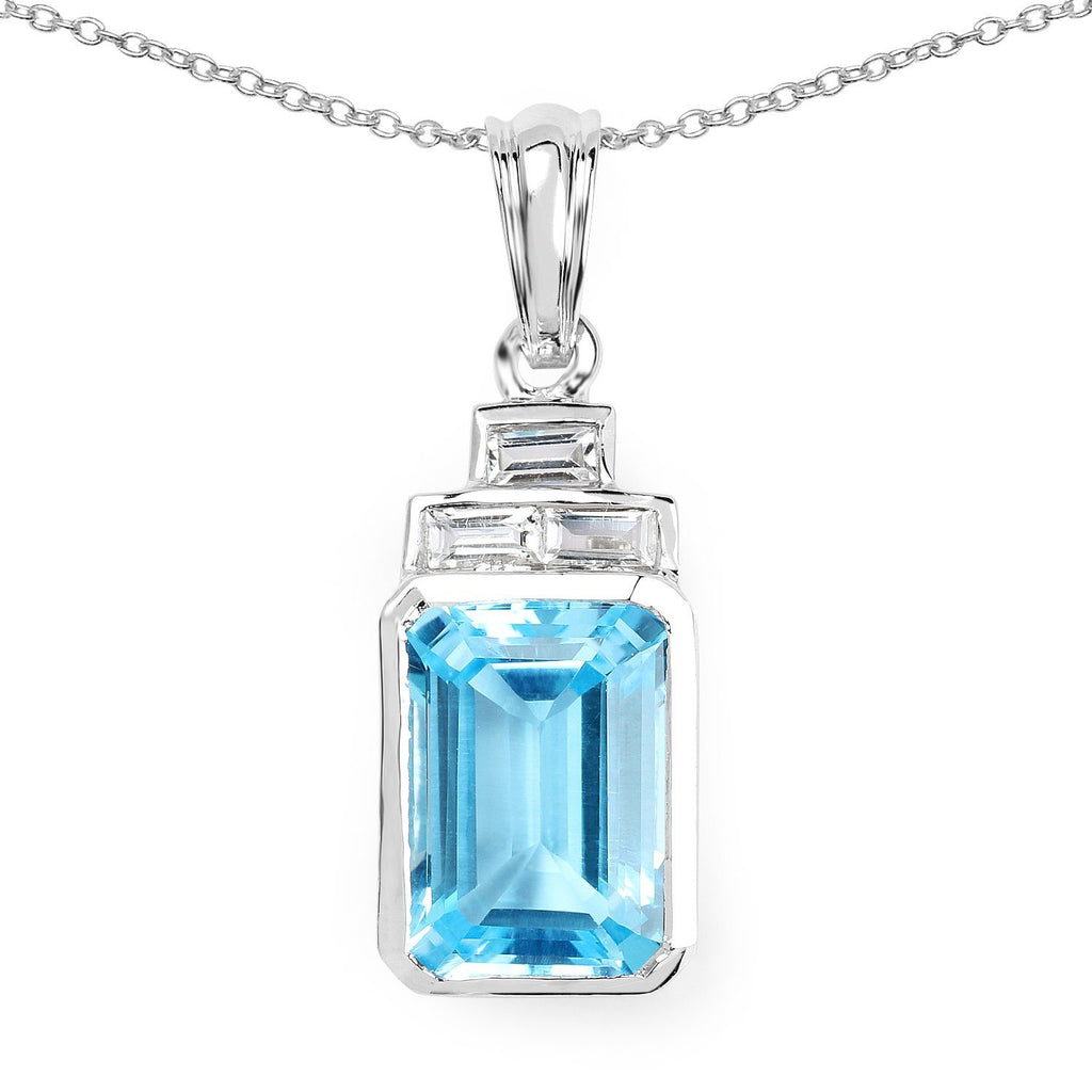Swiss Blue and White Topaz Tower Pendant in Sterling Silver