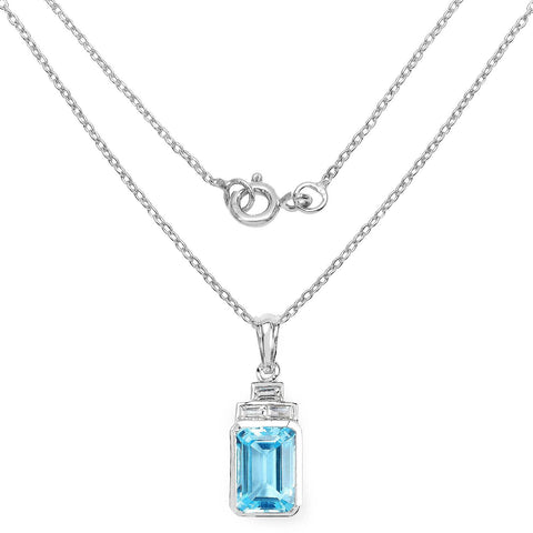 Image of Swiss Blue and White Topaz Tower Pendant in Sterling Silver