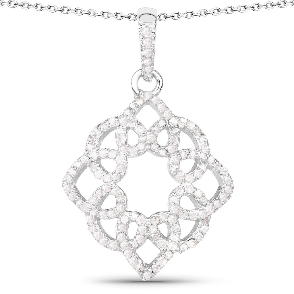 Diamond Floral Pendant in Sterling Silver