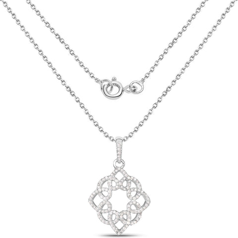 Image of Diamond Floral Pendant in Sterling Silver