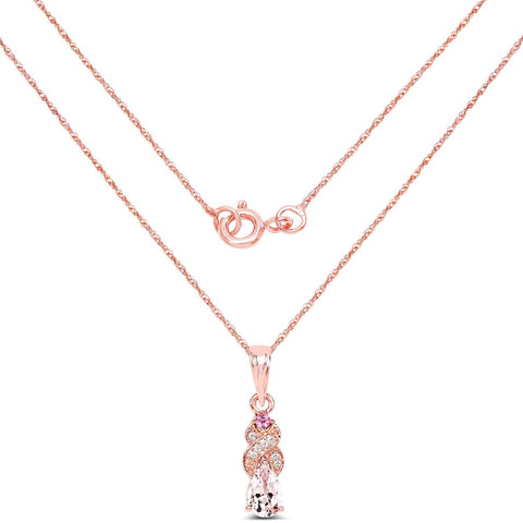 Image of Morganite, White Topaz with Pink Tourmaline Pendant in 14K Rose Gold