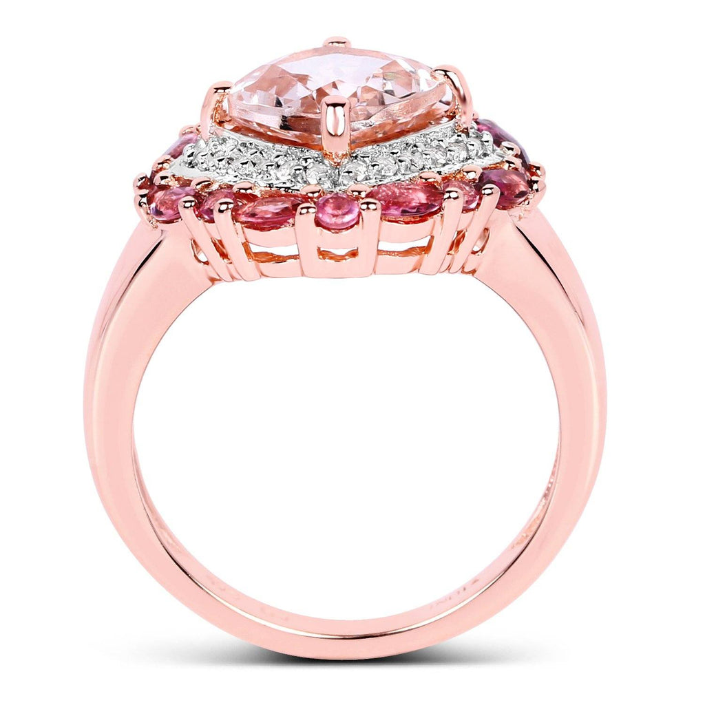 Morganite, White Topaz, Pink Tourmaline Ring In Sterling Silver