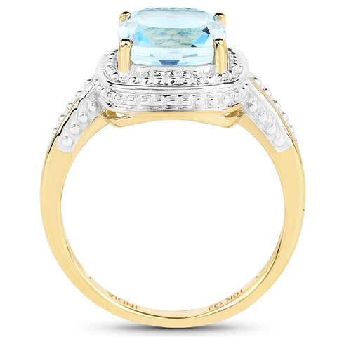 Image of Cushion-Cut Blue Topaz Ring in 10K Yellow Gold