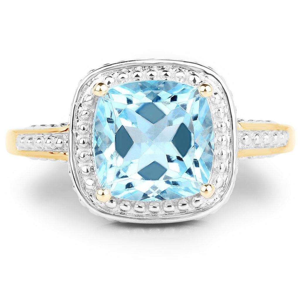 Cushion-Cut Blue Topaz Ring in 10K Yellow Gold
