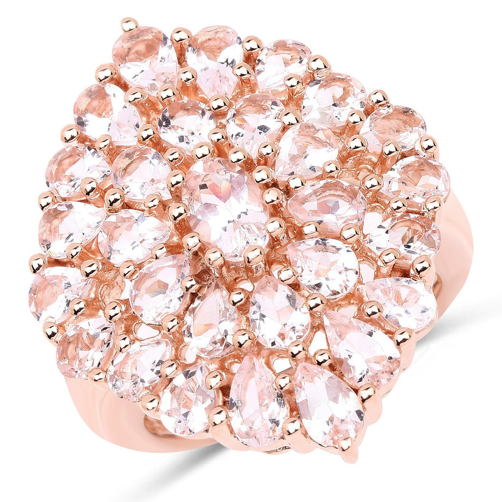 Morganite Cocktail Ring in 18K Gold Plated Sterling Silver