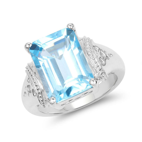Image of Emerald-Cut Swiss Blue Topaz Ring in Sterling Silver