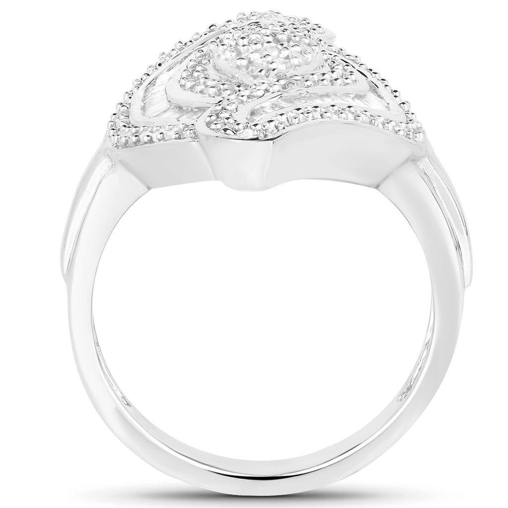 Marquise Diamond Cocktail Ring in Sterling Silver