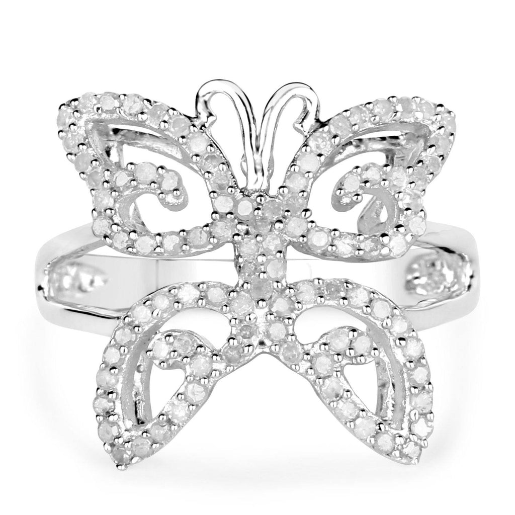 Diamond Butterfly Ring in Sterling Silver