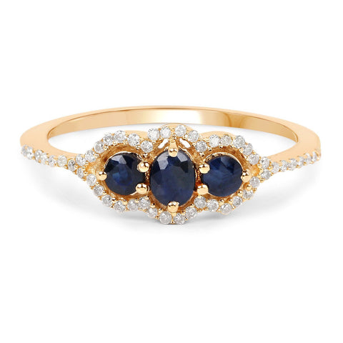 Image of Oval and Round Blue Sapphire with Diamond Micropavé Ring in 14K Yellow Gold