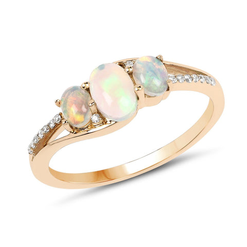 Ethiopian Opal and Diamond Three-Stone Ring in 14K Yellow Gold