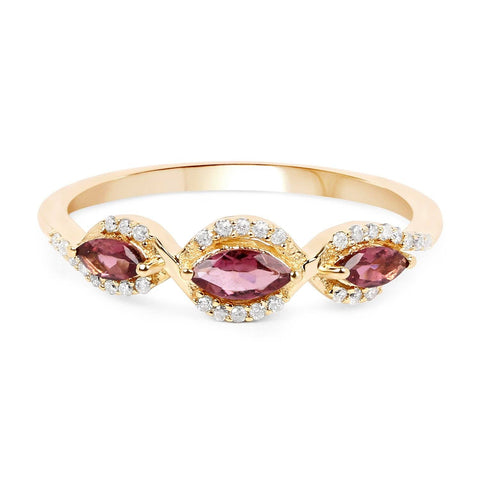Marquise Pink Tourmaline and Diamond Ring in 14K Yellow Gold