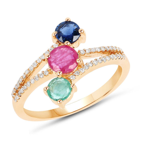 Sapphire, Ruby, Zambian Emerald and Diamond Micropavé Three-Stone Ring in 14K Yellow Gold