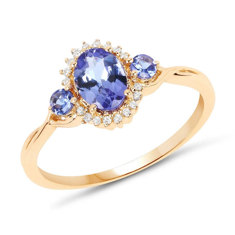 Image of Three-Stone Tanzanite and Diamond Micropavé Ring in 14K Yellow Gold