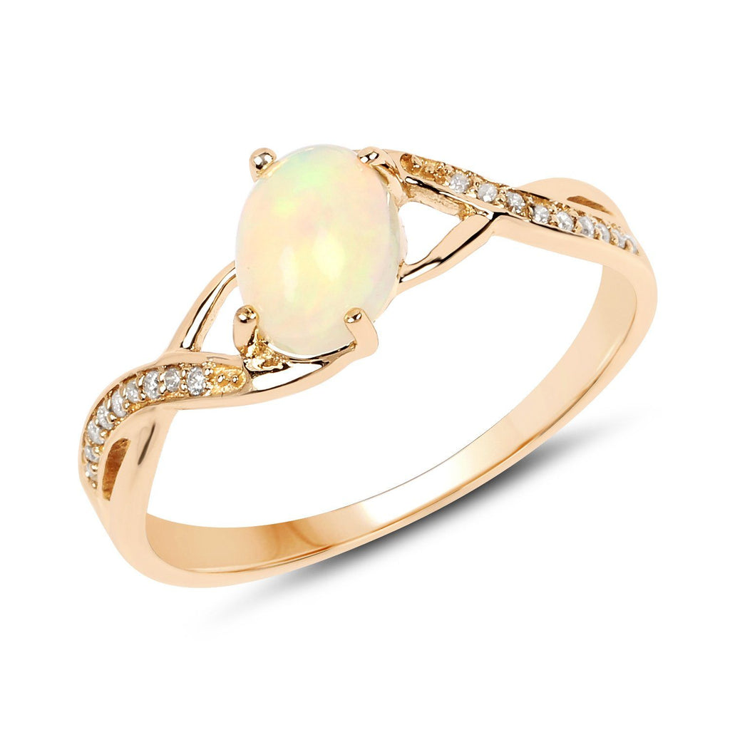 Oval Ethiopian Opal and Diamond Micropavé Twist Ring in 14K Yellow Gold