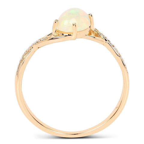 Image of Oval Ethiopian Opal and Diamond Micropavé Twist Ring in 14K Yellow Gold