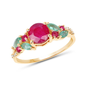 Ruby and Marquise Zambian Emerald with Diamond Ring in 14K Yellow Gold