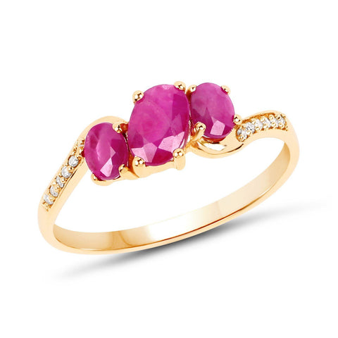 Three-Stone Ruby and Diamond Micropavé Ring in 14K Yellow Gold