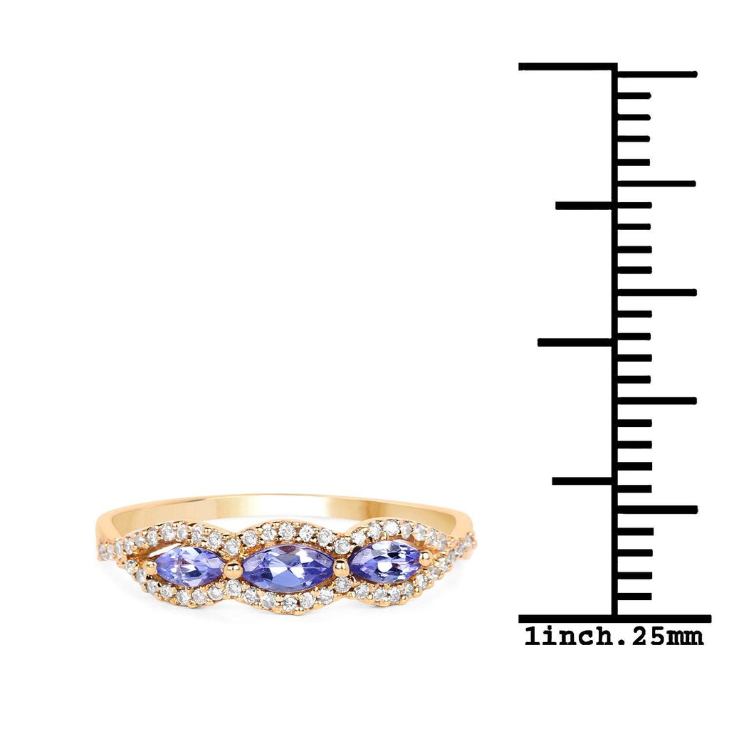 Three-Stone East-West Marquise Tanzanite and Diamond Micropavé Ring in 14K Yellow Gold