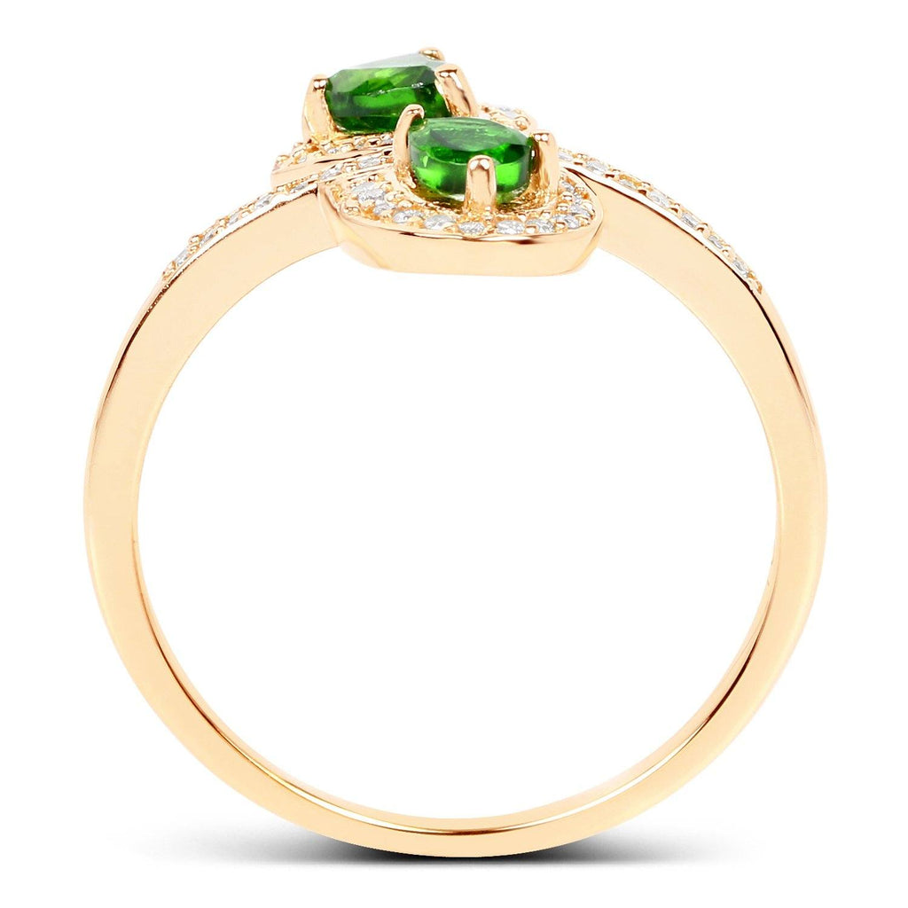 Pear Chrome Diopside and Diamond Micropavé Art Deco Ring in 14K Yellow Gold