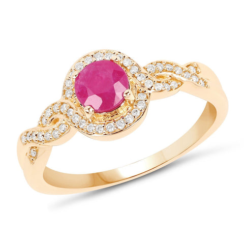 Image of Ruby and Diamond Infinity Ring in 14K Yellow Gold