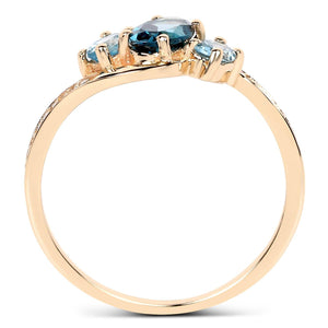 Three-Stone Oval London Blue and Swiss Blue Topaz with Diamond Ring in 14K Yellow Gold