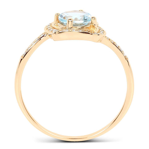 Image of Aquamarine and Diamond Halo Ring in 14K Yellow Gold
