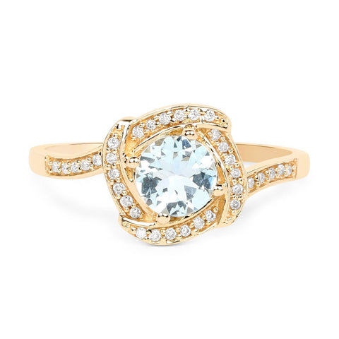 Aquamarine and Diamond Halo Ring in 14K Yellow Gold