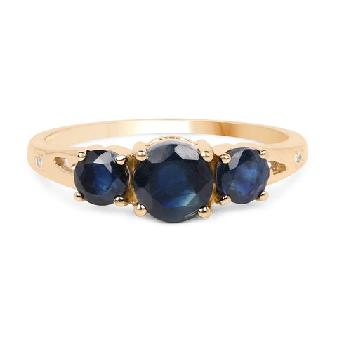 Three-Stone Blue Sapphire and Diamond Ring in 14K Yellow Gold