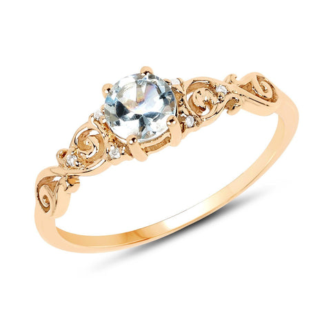 Image of Aquamarine and Diamond Vintage Ring in 14K Yellow Gold