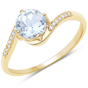 Aquamarine and Diamond Micropavé Ring in 14K Yellow Gold