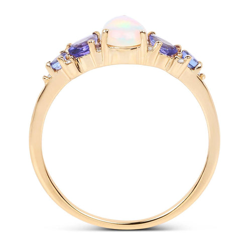 Image of Pear Ethiopian Opal and Tanzanite with Diamond Ring in 14K Yellow Gold