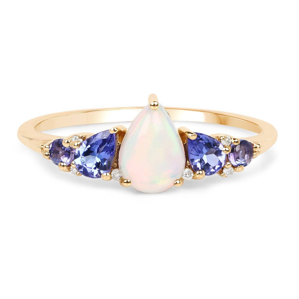 Pear Ethiopian Opal and Tanzanite with Diamond Ring in 14K Yellow Gold