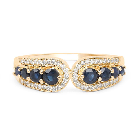 Multi-Stone Blue Sapphire Diamond Micropavé Ring in 14K Yellow Gold