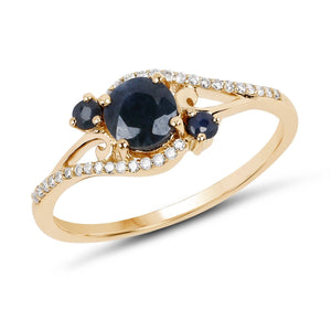 Blue Sapphire and Diamond Ring in 14K Yellow Gold