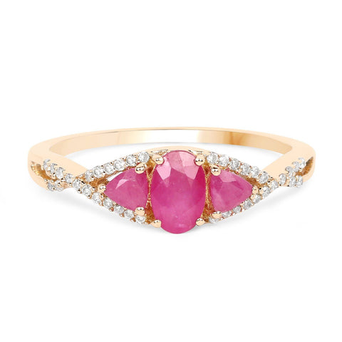 Three-Stone Ruby and Diamond Twist Ring in 14K Yellow Gold