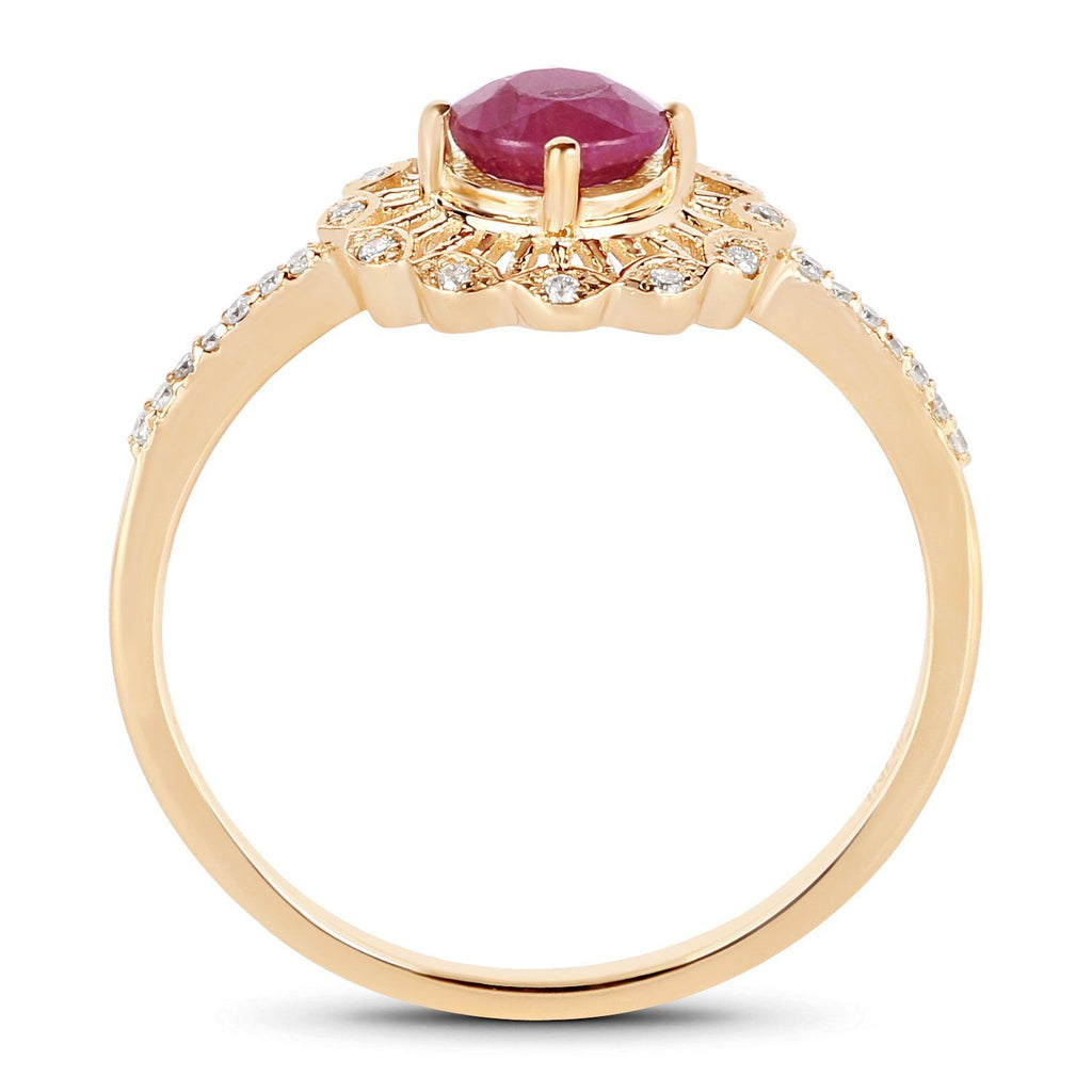 Ruby and Diamond Halo Ring in 14K Yellow Gold
