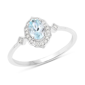 Marquise Aquamarine and Diamond Halo Ring in 14K White Gold