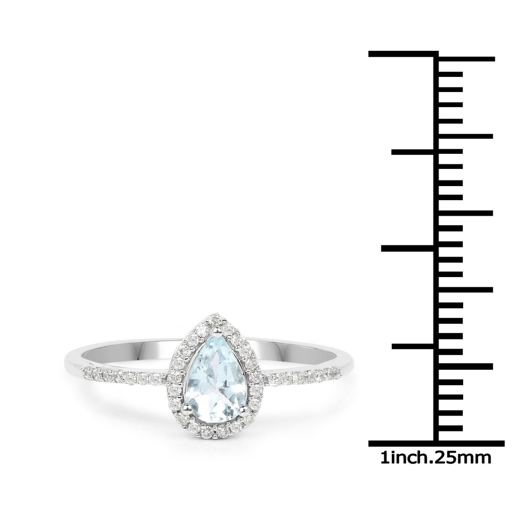Pear Aquamarine and Diamond Micropavé Halo Ring in 14K White Gold