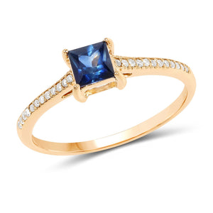 Cushion-Cut Blue Sapphire and Micropavé Ring in 14K Yellow Gold