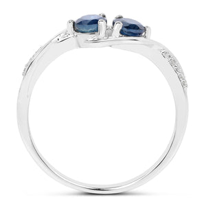 Blue Sapphire and Diamond Infinity Ring in 14K White Gold